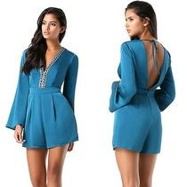 129 Nwt Bebe Blue Crystal Embellished Deep v Long Sleeve Dress Romper Xs 0 Sexy Photo