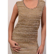 1290 Chloe Made in Italy Gold & Silver Silk Metallic Stripe Dress Size S New Photo