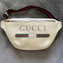 1290 New Gucci Logo Printed White Leather Belt / Waist / Body Bag/ Fanny Pack Photo