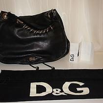 1295 Dolce and Gabbana d&g Natalia Handbag Shoulder Bag Purse Leather Black  Photo