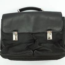 1295 Prada Black Leather & Nylon Laptop Computer Briefcase Bag Photo