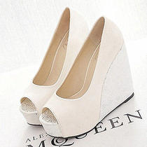 12cm Heel Ivory Silver Shine Lace Rose Open Top Heels Bridal Wedding Shoes Size  Photo