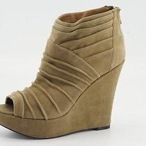 130 New Steve Madden Wesscot Taupe Suede Platform Wedge Booties 8 / 39 Open Toe Photo