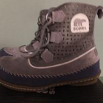 130 Sz Size 7 Sorel Womens Joplin Perfed Leather Moccasin Boots Grey Blue  Photo