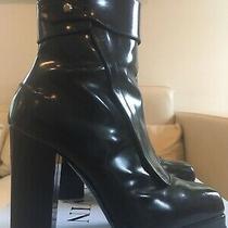 1300 Lanvin Paris Auth Boots Leather Black Block Heels Platform Women Sz 38 75 Photo