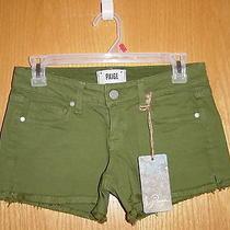 135 Nwt Paige Premium Denim Silverlake Mid Rise Cut-Off Shorts Clover Green 24 Photo