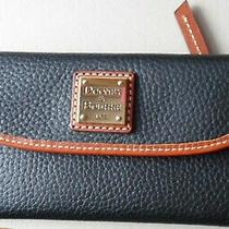 138 Dooney & Bourke Black/tan Leather Pebble Grain Continental Clutch Wallet Photo