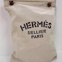 1382 Authentic Hermes Beige Black Aline Leather Shoulder Cotton Tote Hand Bag Photo