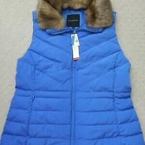 139 New Talbots Woman's Faux Fur Collar Down Puffer Vest Ultramarine Blue Xl Photo