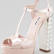 1390 Miu Miu by Prada Shoes Leather Heels Swarovski Crystal Heel Photo