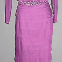 14 Adrianna Papell Plum Purple Blouson Shutter Tier Mesh Beaded Gown Nwt 180 Photo