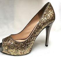140 Guess Gold Silver Metallic Glitter Peep Open Toe Pumps Heels Platform Shoes Photo