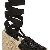 140 Jeffrey Campbell Libra Lace Up Crochet Espadrille Wedge Sandal 7 Black Photo