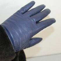 145 Nwt Ugg Australia Wome's Navy Leather Gloves W/shearling Wrists Sz S Gift Photo