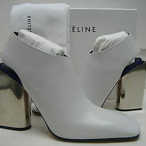 1450 New Celine Us 8.5 Eur 39 Off-White Leather Booties High Mirror Heels Shoes Photo