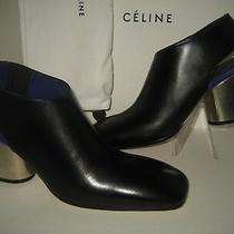 1450 New Celine Us 9 Eur 39.5 Black Purple Leather Booties Mirror Heels Shoes Photo