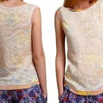 148 Anthropologie Marigold Blush Lace Tank Medium 6 8 Gold Top Shirt Blouse  Photo