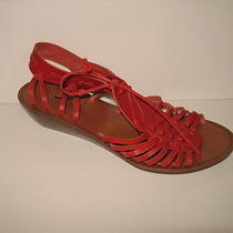 148 Madewell the Basket Weave Sandal 6.5 Red Wedge Leather Shoes Jcrew Sandals Photo