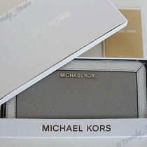 148 Michael Kors Jet Set Frame Saffiano Leather Zip Around Wallet Grey W/box Photo