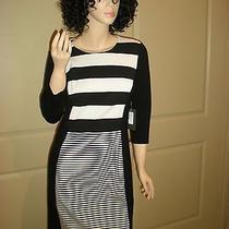 149 Vince Camuto Black & Ivory Striped Wear to Work Dress 6 Photo