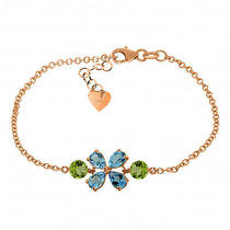 14k Rose Gold Bracelet With Blue Topaz & Peridots Photo