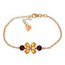14k Rose Gold Bracelet With Citrines & Garnets Photo