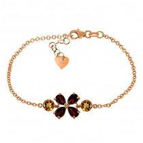 14k Rose Gold Bracelet With Garnets & Citrines Photo
