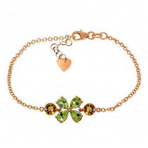14k Rose Gold Bracelet With Peridots & Citrines Photo