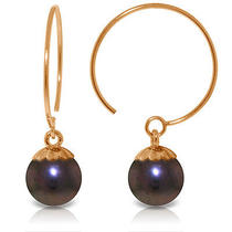 14k Rose Gold Circle Wire Earrings With Black Pearls Photo