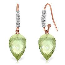 14k Rose Gold Diamond Green Amethyst Hook Earring Photo