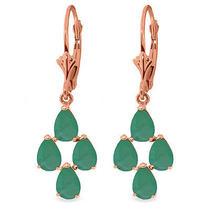 14k Rose Gold Emerald Spring Earrings Photo