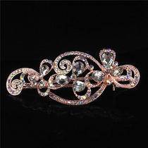 14k Rose Gold Filled Flower White Sapphire Austrian Crystal Hair Clip Pin Gp1926 Photo