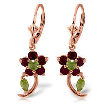 14k Rose Gold Flower Drop Ruby Peridot Earrings Photo