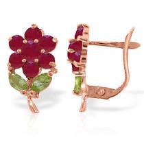 14k Rose Gold Flower Ruby Peridot Clip Earrings Photo