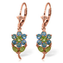 14k Rose Gold Flowers Earrings With Blue Topaz & Peridots Photo