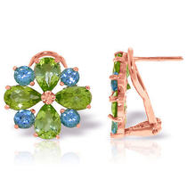 14k Rose Gold French Clips Earrings With Peridots & Blue Topazes Photo