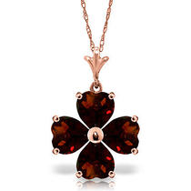 14k Rose Gold Heart Cluster Garnet Necklace Photo