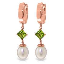 14k Rose Gold Hoop Earrings W/ Pearls & Peridots Photo