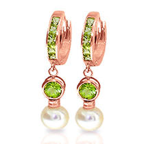 14k Rose Gold Huggie Earrings With Pearls & Peridots Photo