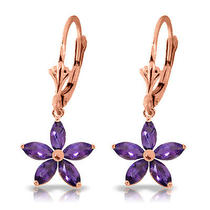 14k Rose Gold Lever Back Earrings With Amethysts Photo