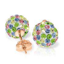 14k Rose Gold Multi Colors Cz Ball Stud Earrings Photo