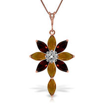 14k Rose Gold Necklace With Diamond Citrines & Garnets Photo