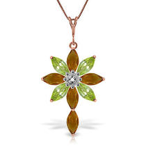 14k Rose Gold Necklace With Diamond Citrines & Peridot Photo