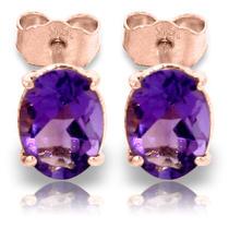 14k Rose Gold Panache Amethyst Stud Earrings Photo