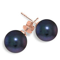 14k Rose Gold Stud Earrings With Black Pearl Photo