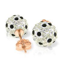 14k Rose Gold White & Black Cz Ball Stud Earrings Photo