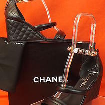 14p Chanel Charms Ankle Bracelet Strap Black Quilted Leather Wedge Sandals 39.5 Photo
