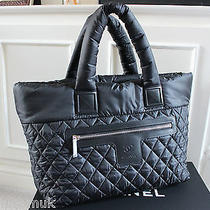 14p Chanel Coco Cocoon Black Burgundy Tote Handbag Photo