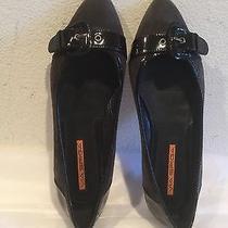 150 via Spiga Dark Gray and Black Patent Leather Flats 6 1/2 M Photo