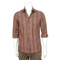 15318 Auth Bally Brown & Red & Blue Cotton Button-Front Shirt 39 40 M Photo